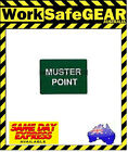 (Pack of 2) Green Muster Point Work Sign Site Safety Polypropylene 600x450mm