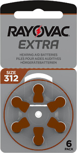 60x Rayovac Extra Advanced 312 Hörgerätebatterien Braun PR41 10x6er Blister