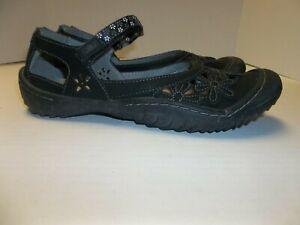 Womens Size 8M JBU Jambu Wildflower Slip On Mary Jane Shoes Black Vegan