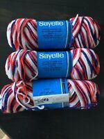 2+1 Partial Skeins Dawn Sayelle Ombre Yarn Variegated Spirit Of 76 Red White Blu