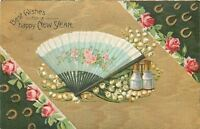 New Year~Blue White Lace Ladies Fold Fan~Pink Roses~Lily of Valley~Gold Emb~G-A