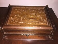 Vintage Buick Image Wood Carved Classic Car Writing  Box For Pens Pencils Paper