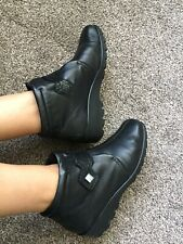 Hotter TAMARA Black Leather Low Wedge Heel Touch Fasten Ankle Boots Uk 5