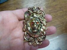 Lions fleur de lis brass pin pendant (B-Lion-358) Red eyed Lion big cat wild