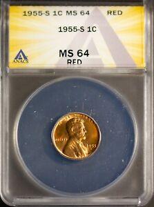 1955-S 1C Lincoln Head Small Cent MS 64 Red ANACS 7269972 + Bonus