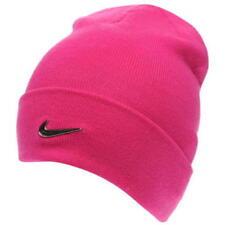 Juniors Girls Genuine Nike Swoosh Warm Winter Beanie Hat Knitted Headwear Pink