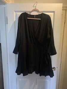 Ladies Black Plus Size Wrap Smart Dress Size 22