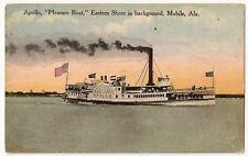 """Apollo """"Pleasure Boat'' Eastern Shore in background,Mobile Alabama Postcard"""