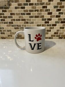 Novelty Pet Lovers Coffee Mug 'LOVE' & Red Paw Print Love Your Pets Fur Baby