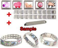 Piggy Pig Photo 18mm Mega Stainless Steel Italian Charms Bracelet + Tool HG64
