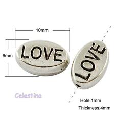 """15 Antique Silver """"Love"""" Charm Oval Spacer Beads 10 x 6mm"""
