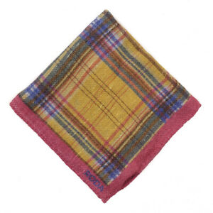 NWT RODA Blue-Pink-Gold Check Print Wool-Blend Pocket Square