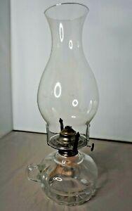 "Vintage Lamplight Farms Glass Hurricane Oil Lamp Top Base Cotton Wick 12.5"""