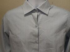 Worthington Blouse Size 6 Striped Blue White Long Sleeve Cotton Women's