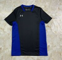 Youth Boy's Under Armour Challenger II Training Shirt Black Blue Size Medium