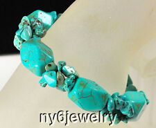 "Fascinating! Blue Magnesite Rough Nugget Turquoise stretch Bracelet 8""*"