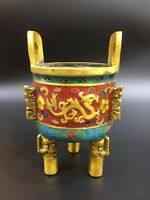 Chinese Antique Cloisonne hand-made dragon-shaped incense burner Xuande Year