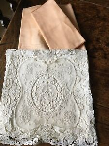 ANTIQUE LACE HANDKERCHIEF SACHET AND PINK TAFFETA SASH