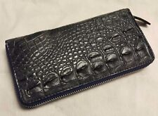 GENUINE CROCODILE WALLETS SKIN LEATHER BONE ZIPPER WOMEN'S GRAY CLUTCH BAGS