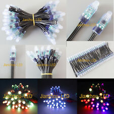 100pcs WS2811 RGB FullColor Pixels 12mm LED String Xmas Waterproof 5V Black Wire