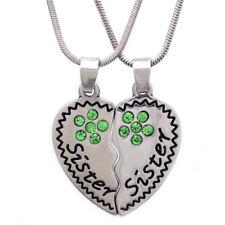 Sister Sister Heart Pendant Necklace Crystal Flower Birthday Christmas Gift