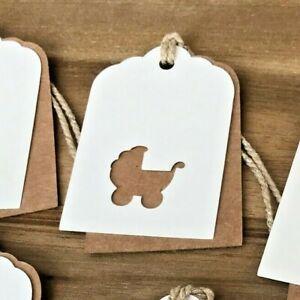 6 Handmade New Baby Pram Layered Kraft Brown & Ivory Gift Tags - Boy or Girl