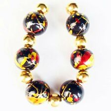 6Pcs/set 10mm Red/Gold/Black Titanium Crystal Round Ball Pendant Bead F40918