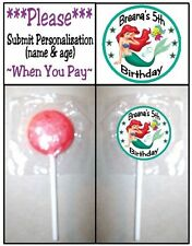 24 Little Mermaid Ariel Birthday Party Lollipop Sticker Invitation Seal Play Doh