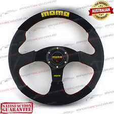 350mm SPORTS STEERING WHEEL SUEDE CARBON RED STITCHING MOMO 1 Year Warranty