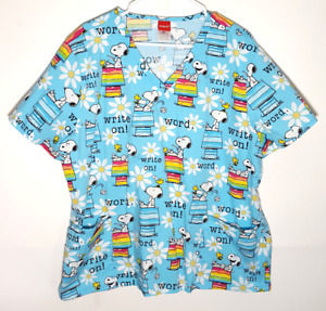 Snoopy Blue Scrub Top | Official Peanuts Write On! Flowers | Womens 2XL