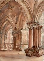 CATHEDRAL BASEL SWITZERLAND Watercolour Painting - 19TH CENTURY - GRAND TOUR