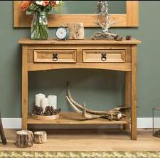 Rustic Farmhouse Sideboard Antique Wooden Console Table Pine Solid Wood 2 Drawer