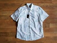 """New HUGO BOSS regular fit XL """"Luka_5F"""" white/blue summer short sleeve shirt $135"""