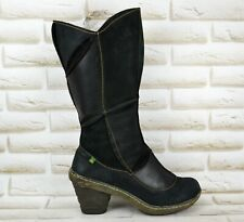 EL NATURALISTA Dome Womens Black Leather Mid-Calf Heeled Boots Size 7.5 UK 41 EU