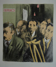"Raphael Soyer Original Color Lithgraph ""Subway Exit"" from Memories Portfolio"