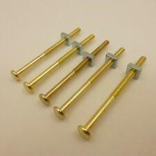 5 BRASS Bolts Screws Glass Cabinet Handles Knobs Drawer Pulls Vintage Depression