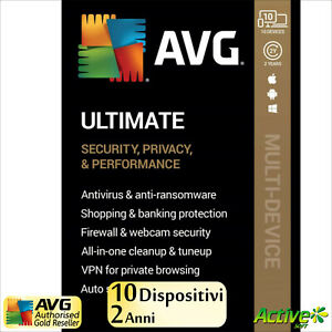AVG ULTIMATE 2021 2 anni | PC, Mac, Android | Internet Security, Tuneup, VPN IT