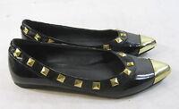 new Black Gold Stud Pointy Toe Slip On Ballet Flats Size 7