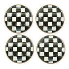 """Brand New MacKenzie-Childs Set of 4 (6"""") Courtly Check Small Plates"""