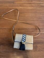 Stella And Dot Straw Crossbody Fringe Embroidered Purse Wallet Fanny Pack Bag