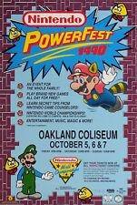 Nintendo  SUPER RARE PowerFest World Championships 1990 Poster NWC NES VTG Mario