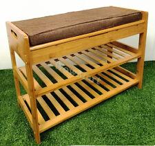 Gift Natural Multi-function Storage Shelf Bamboo Bench Stool Shoe Rack (#662)