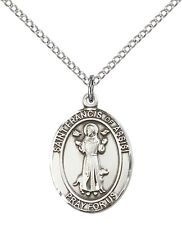 """Sterling Silver St Francis of Assisi Pendant 18"""" Chain 8036SS/18S"""