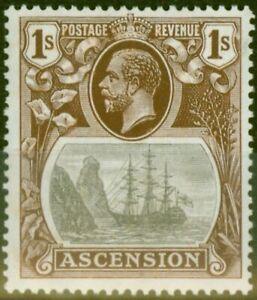 Ascension 1924 1s Grey-Black & Brown SG18a Broken Mainmast V.F Very Lightly M...