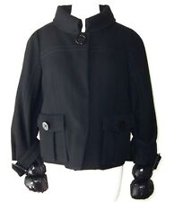 MONCLER Black Wool Down Button Puff Jacket Coat 3 L
