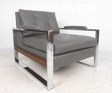 Milo Baughman Style Chrome and Vinyl Club Chair (8027)JR
