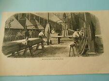Gravure 1868 - Marine Impériale Usine d'Indret Machine et four pour les rivets