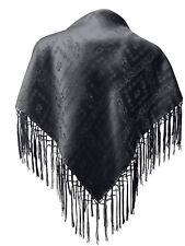 Dirndl-Trachtentuch Seidentuch Tuch schwarz 75x75cm Dirndltuch Seide Fransentuch