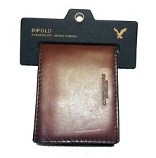 NWT AMERICAN EAGLE OUTFITTERS MENS LEATHER BIFOLD WALLET NEW BROWN/BLACK AEO