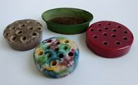 Lot of 4 Flower Frogs Holders Floral Bouquet Ceramic (3) Metal Pin Spikes (1)